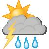 Kraftige regnbyger og torden